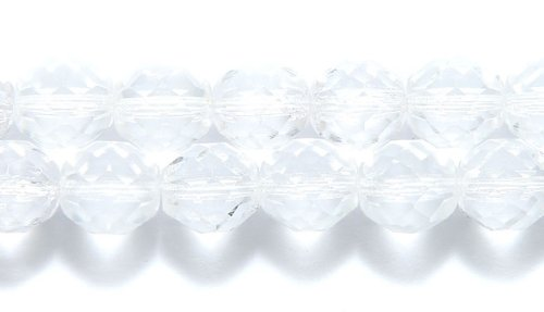 Preciosa 10FC212 Czech Fire 10mm Polished Glass Bead, Faceted Round, Crystal, 75-Pack