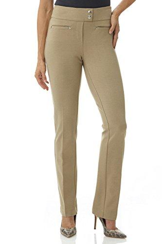 Rekucci Women's Secret Figure Pull-On Knit Straight Pant w/ Tummy Control (16,Camel) Slim Stretch Pocket Pant