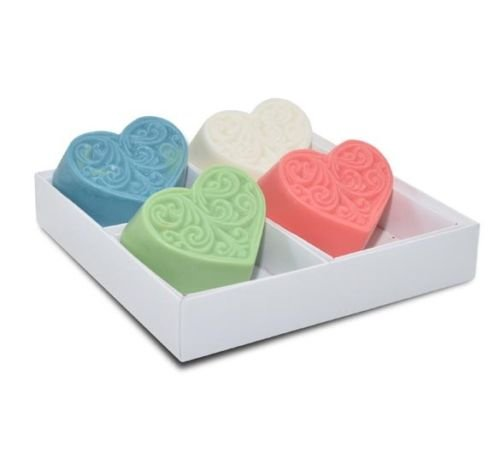 Heart bar Soap Set of 4 (3.5oz Each) -Handmade in The USA Natural Ingredients with Extra Shea Butter for Extra Moister ! Lavender, Lemongrass, Vanilla and Ocean Fragrance, Great for Mothers Day
