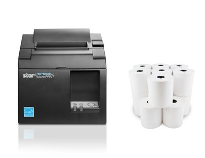 Square POS Register Compatible Star Micronics TSP143IIILAN 39464910 Thermal Network Ethernet LAN Receipt Printer and 10 Rolls of Epsilont Thermal Receipt Paper 3-1/8 x 230ft (Black) by Epsilont
