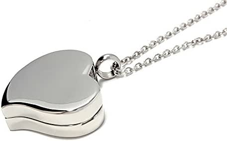 Amour Heart Pill Necklace - Polished Heart Locket with Strong Magnetic Closure - Medication Necklace - Keep Your Medication Securely with You at All Times - Locket Necklace with 26 Inch Chain (Silver)