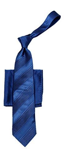 Necktie Pleated Silk (Mens Solid Pleated Necktie - Navy)