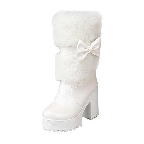 DoraTasia Women's Sweet Bow Tie Shoes Platform Chunky High Heel Snow Mid Calf Boots White K8EJvg8