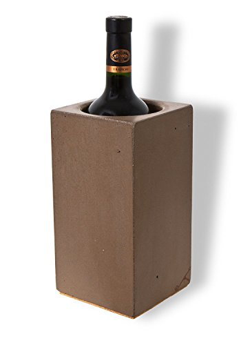Angle 33 - Thermal Wine Cooler Chiller - Unique Personalized Wine Accessories for Women or Men - Single Red or White Wine Bottle Cooler Chiller Bucket - Made of Stone Concrete - Handcrafted in USA (Single Bottle Red)