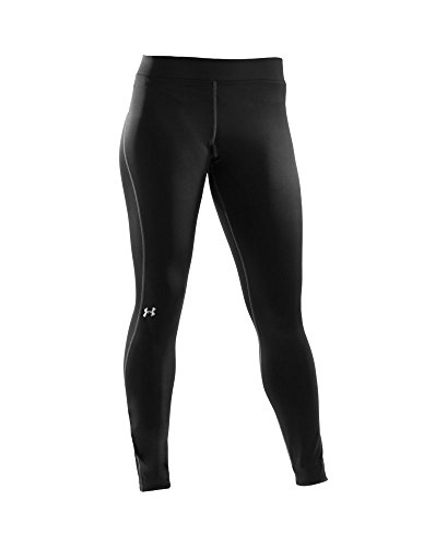 Under Armour Women's ColdGear Authentic Compression Leggings,  Black/Metallic Silver - Medium