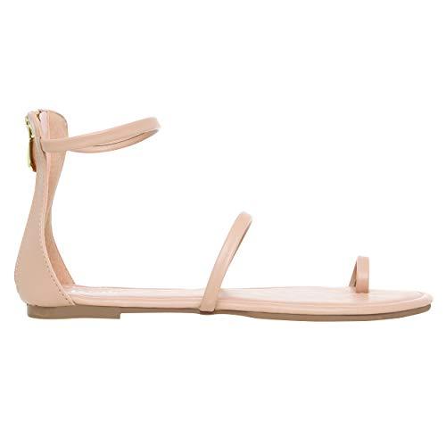 Rohb by Joyce Azria Gia Strappy Gladiator Flat Summer Sandal (Nude Vegan Leather) Size - Sandals Flat Gladiator Strap