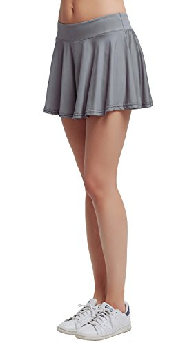 Women's Basic Leisure Stretchy Club Tennis Short Underneath Skort Grey M (Golf Women Sale)