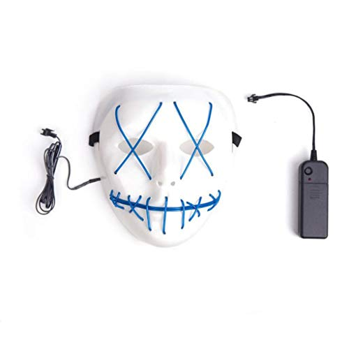 Halloween Cosplay LED Light up Mask for Festival Party Halloween Costumes LED Mask HQ (one, Blue) for $<!--$6.99-->