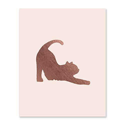 Gift For Cat Decor Lover Pink Art Kitten Foil Print Rose Gold Metallic Poster Best Friend Birthday Present Yoga Pose Artwork Unframed Blush Bedroom Wall Hanging Shiny Office Decoration 8 x 10 F19