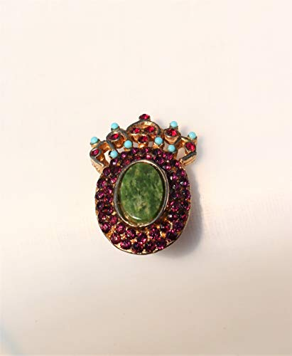 - Gold tone cameo with crown purple with green connemara marble in middle Brooch 1 1/2