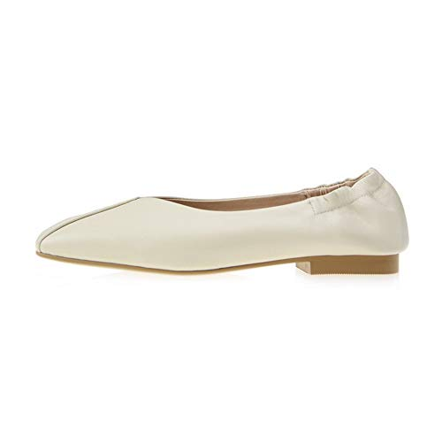 Leather Beige BalaMasa Shoes Womens Pumps Structured Seams Frayed Pleated APL11113 XfCOBq