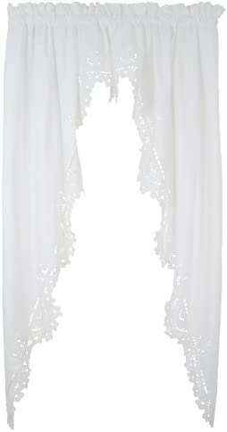 Today s Curtain Imperial Classic Drawn Cutwork Window Swagger, 63-Inch, White
