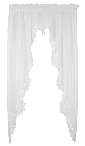 Today's Curtain Imperial Classic Drawn Cutwork Window Swagger, 63-Inch, White