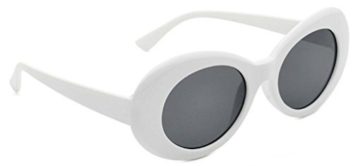 WebDeals - Oval Round Retro Oval Sunglasses Color Tint or Smoke Lenses Clout Goggles (#1 White, - Cobain Glasses