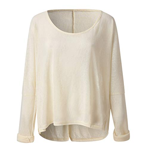 Respctful ♫♬ Oversized Long Sleeve Shirts for Women Baggy Sleeve Side Split Tunic Casual V Neck Solid Pullover Shirt Beige