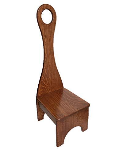 (Tall Handle Step Stool, Solid Wood Bench Step Stool Quarter Sawn Oak Hardwood)