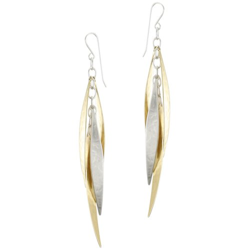 Marjorie Baer Long Tiered Leaves Earring in Brass and Silver