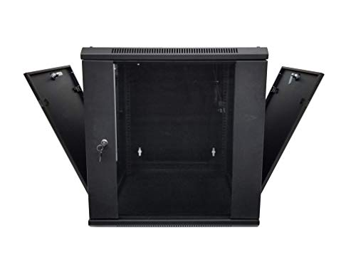 KENUCO 9U Wall Mount Double Section Hinged Swing Out Server Network Closed Rack Cabinet with Lock and Glass Door (9U)