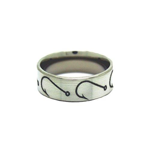 #1 Camo Fishing Hooks Ring - Fishing Wedding Band - Fish Hook Jewelry - Ring Size 9