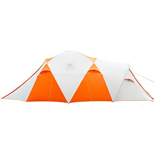 Exio Gear EXIO 8 Person Family Tent: Compact for Backcountry, 20D Breathable Ripstop Nylon Tent and Rainfly With PU2000 Silicone Coating, and Aluminum Poles For Sale