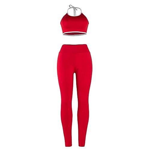 Yizenge Women's Two Piece Outfits Halter Crop Bra Long Skinny Pant Jog Set Tracksuit by Yizenge (Image #2)