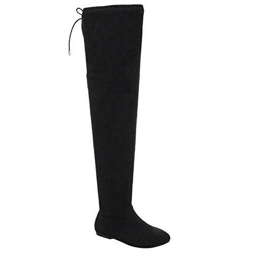 [Nature Breeze Women's Stretchy Thigh High Boot Black 9] (Black Thigh High Boots)