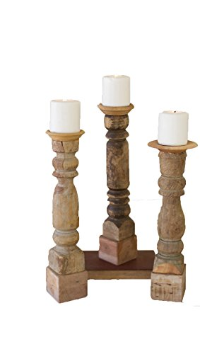 Kalalou Assorted Wooden Reclaimed Banister Candle Stand, ...