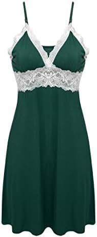 Ekouaer Sleepwear Womens Chemise Nightgown Full Slip Lace Lounge Dress