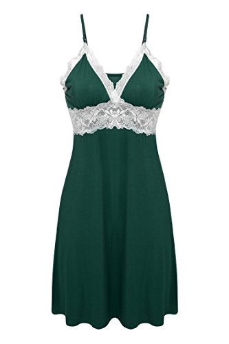 Ekouaer Womens Essentials V-Neck Chemise Slips Nighty Nightgown Plus Size (Green, XL)