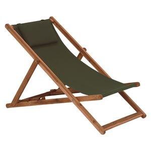 リラックスチェア/アウトドアチェア 【折りたたみ式/グリーン】 木製 背部:3段階角度調整可 枕付き 【代引不可】 B07PGDZ6XZ