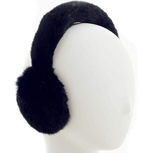 (Surell Mink Earmuff with Fur Halo Band - Winter Ear Muffs - Cold Weather Fashion)