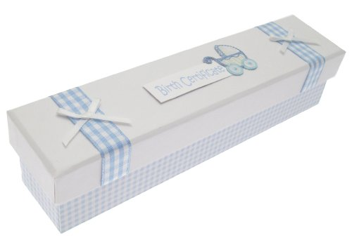 White Cotton Cards New Pram Baby Boy Birth Certificate