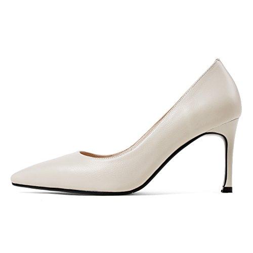 8cm scarpe Moda bianca tacco ad Da finitura Scarpe Alla punta leggero e Donna singolo Scarpe alta AJUNR sottile 36 Sandali BwI6pqTn1