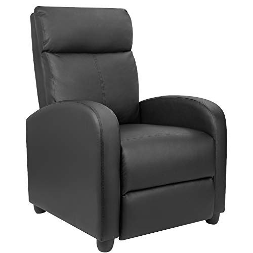 Furniwell Recliner Chair Home Theater Seating Wing Back PU Leather Modern Single Living Room Reclining Sofa with Footrest (Black) (Leather Chair Wing Back)
