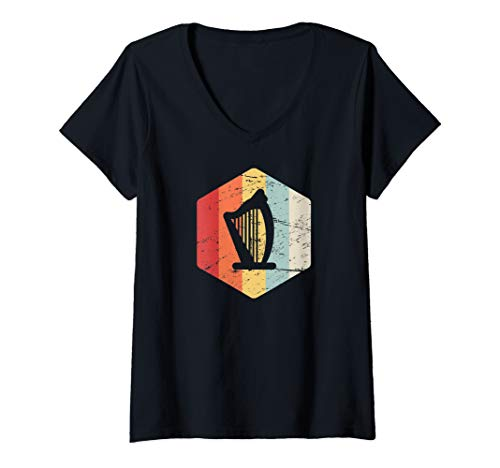Vintage Stringed Instruments - Womens Retro Vintage Orchestra Stringed Instrument - Concert Harp V-Neck T-Shirt