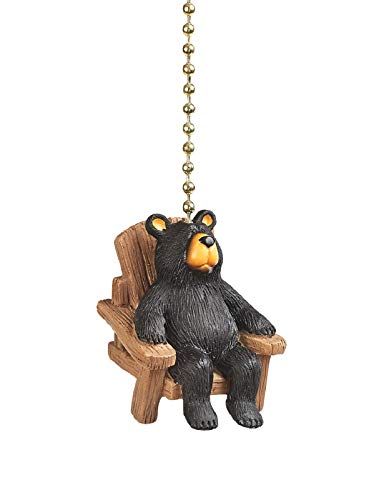 Clementine Designs Bear in Chair Ceiling Fan Light Dimensional Pull Resin Brown