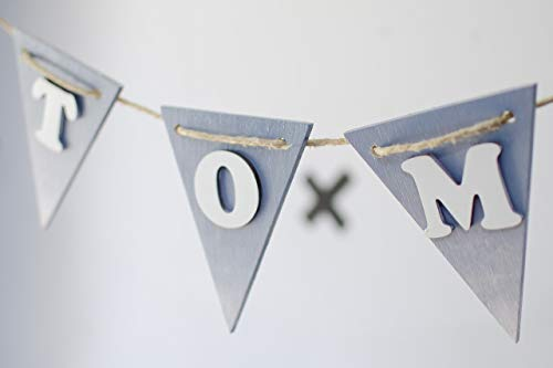 Ombre style - Gender neutral nursery wood banner - Baby Name Reveal Wood Banner