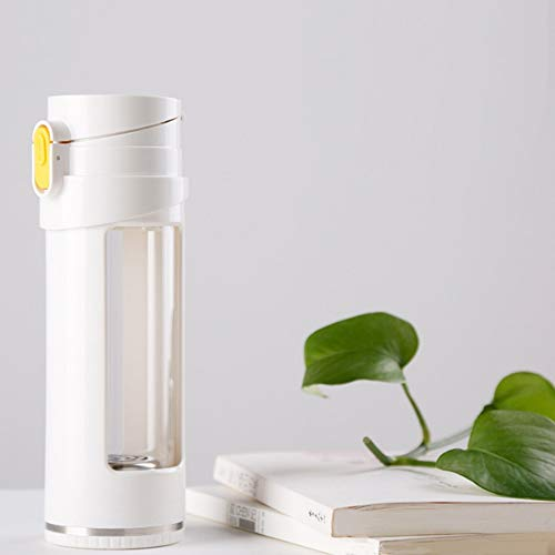 WENFINSP Hydrogen Alkaline Water Bottle Portable Travel Tea Coffee Bottle Water Cup Active Hydrogen Power Generator for Home Office and Travelling Spices Brush (Color : White)
