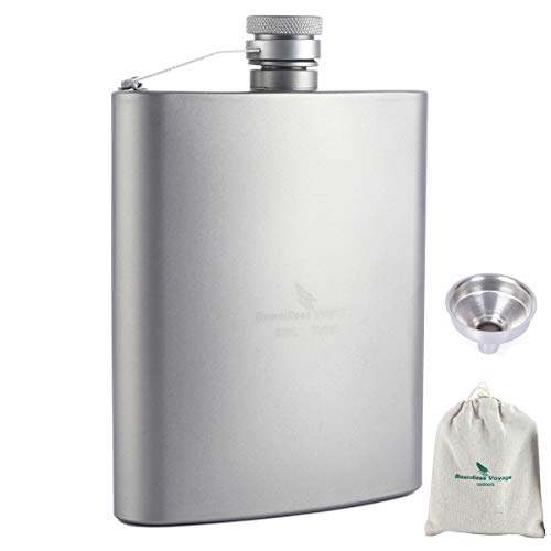 Titanium Pocket Flagon with Stainless Steel Funnel Outdoor Sports Flat Liquor Flask Camping Portable Ultralight Wine Pot 200ML with Storage Pouch(Ti1504B)