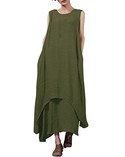 StyleDome Vestido Largo Casual Elegante Fiesta Noche Lino Cuello Redondo sin Mangas para Mujer Verde Militar