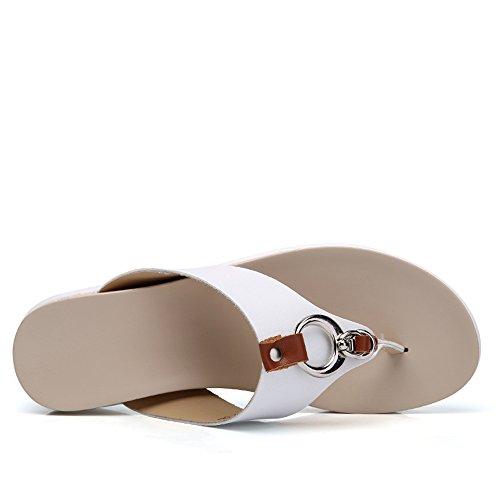 Mujer Con Abierta Para Plataforma Sandalias De White Punta z1xpw