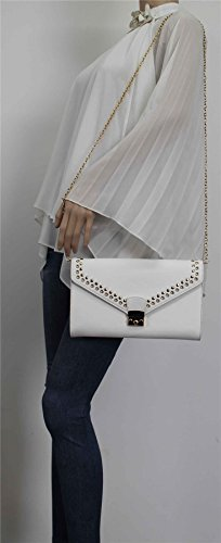 Wedding Clutch SWANKYSWANS Stud Gold Leather Ladies Party Prom Bag Beni White Womens Faux na0wqfRzR