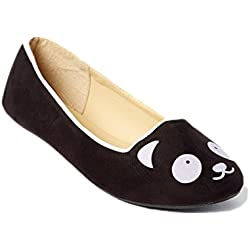 Simply Petals Girl's Meow Kitty Cat Face Slip On Critter Ballet Flat (3 M US Little Kid, Panda Black)