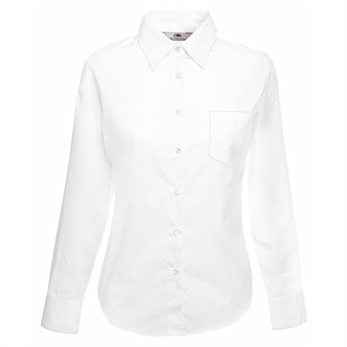 Fruit of the Loom Lady-fit poplin long sleeve shirt White M