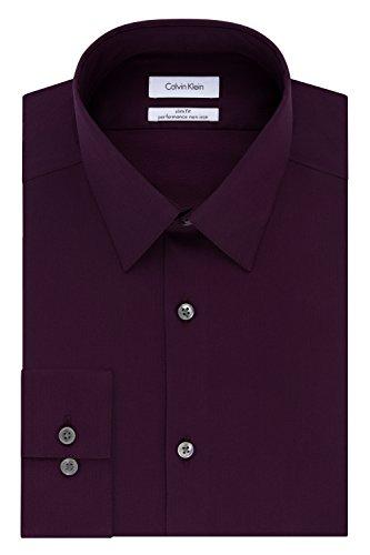 Calvin Klein Men's Slim Fit Non-Iron Herringbone Point Collar Dress Shirt, Raisinberry, 16