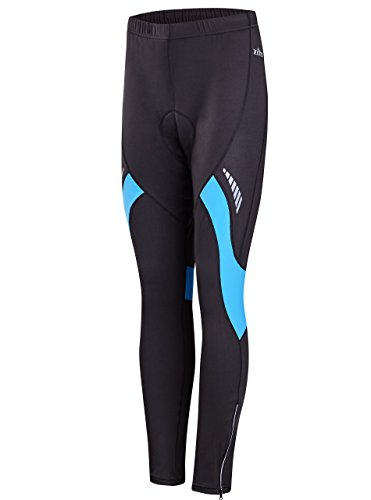 Bicycle Pants Padded for Woman Long Bike Tight Compression Pants 3D with Hidden Drawstring Blue/Black XL