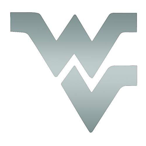 ANGDEST WVU WEST Virginia University (Metallic Silver) (Set of 2) Premium Waterproof Vinyl Decal Stickers for Laptop Phone Accessory Helmet Car Window Bumper Mug Tuber Cup Door Wall Decoration