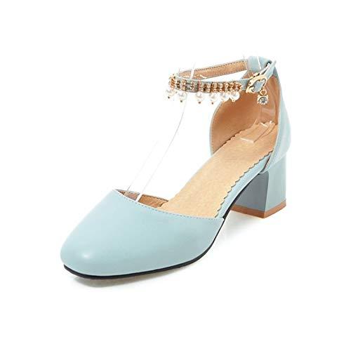 De Pearl Poliuretano Primavera Negro Blue De Y Toe Básica Imitación Azul Zapatos Chunky PU Mujer Bomba Tacones Verano Rosa De El QOIQNLSN La Talón Square 0ItwR1
