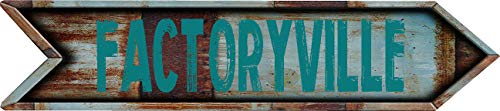 "Any and All Graphics FACTORYVILLE 8"" Arrow Shaped Rustic Antique Vintage City Name Vinyl Decal Sticker"