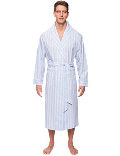 Noble Mount Men's Cotton Robe - Stripes Chambray Blue - S/M